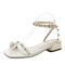 Women Faux Pearl pineapple Toe Ring Comfy Buckle Strap Sandals - Beige