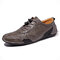 Men Hole Breathable Soft Driving Leather Loafers - Gray