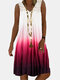 Gradient Lace Patchwork Sleeveless Casual Dress For Women - Red