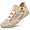 Men Pigskin Leather Splicing Mesh Fabric Comfy Breathable Elastic Hook Loop Casual Driving Shoes - Beige