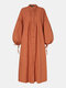 Women Solid Color Puff Long Sleeves Button Casual Dress - Orange