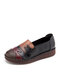 Women Vintage Style Color Block Leather Slip-On Soft Comfy Hand Stitching Flat Shoes - Black