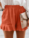 Solid Color Ruffle Hem Pleated High Waist Casual Shorts With Pocket - Orange