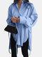 Solid Color Long Sleeve Side Slit Lace-up Irregular Shirt For Women - Blue