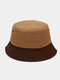 Unisex Cotton Patchwork Color-block Letter Embroidery Fashion Sunshade Bucket Hat - #04