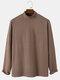 Mens Solid Color High Neck Plain Basics Long Sleeve T-Shirts - Khaki