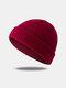 Bonnet unisexe en laine tricoté de couleur unie Casquettes de crâne Bonnets sans bord - Vin rouge