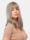 18 Inch Gray Mixed Color Medium-Length Straight Hair Soft Natural Full Head Cover Wig - 18 Inch