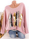 Leopard Print O-neck Long Sleeve Plus Size Casual T-shirt - Pink