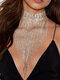 Trendy Exaggeration Tassel-shape Rhinestone Alloy Necklaces - Gold