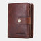 Women Genuine Leather RFID Multi-function Multi Card Slots Casual Solid Color Brief Card Holder Wallet - Brown