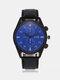 Vintage Men Watch Thin Leather Band Waterproof Digital Quartz Watch - Blue Dial Black Band