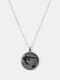 Metal Round Glass Cat Stick Out Head Print Women Necklace - Silver