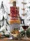 1 sac de bouteille de vin à carreaux de Noël bonhomme de neige vin rouge Champagne décorations de table de Noël - gris
