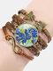 Vintage Painting Crystal Bracelet Hand-Woven Butterfly Infinity Symbol Men Women Multi-Layer Leather Bracelet - #01
