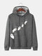 Mens Cartoon Ghost Print Funny Drawstring Hoodies With Pouch Pocket - Dark Gray