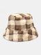 Women Lamb Fur Contrast Color Warm Casual Couple Hat Bucket Hat - Khaki
