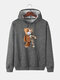 Mens Cartoon Bear Graphic Cotton Drawstring Hoodies With Pouch Pocket - Dark Gray