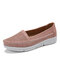 LOSTISY Women Hollow Comfy Massage Soft Sole Casual Slip On Falts - Pink