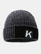 メンズレターパターンPlus厚手の冬は暖かく防風ニット帽を保つ - グレー