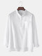 Mens Solid Color Cotton Linen Stand Collar Long Sleeve Henley Shirts With Pocket - White