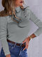 Solid Color Ruffle Sleeves Patchwork Casual T-Shirt For Women - Gray