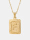 Vintage Gold Square Stainless Steel Letter Pattern Pendant - F