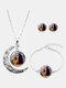 3 Pcs Printed Men Women Jewelry Set Wearing Garland Hollow Half Moon Necklace Bracelet Earring - #06