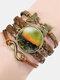 Vintage Painting Crystal Bracelet Hand-Woven Butterfly Infinity Symbol Men Women Multi-Layer Leather Bracelet - #05