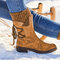 Large Size Women Winter Snow Strappy Block Heel Mid Calf Boots - Brown 1