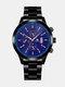 Alloy Steel Band Business Calendar Men Casual Fashion Quartz Watch - Blue+Black.
