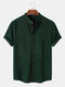 Mens Solid Color Brief Style Round Neck Short Sleeve Henley Shirt - Green