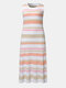 Knitted Stripe Print O-neck Sleeveless Casual Dress for Women - Pink