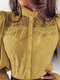 Solid Color Lace Patchwork Button Casual Shirt For Women - Yellow