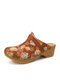SOCOFY Calico Printed Cloth Comfy Wearable Slip On Wood Mules Clogs Casual Low Heel Sandals For Easter Gifts - Brown