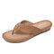 Rhinestone Clip Toe Holiday Hollow Out Flip Flops Beach Slippers - Brown