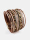 Ethnic Multilayer Leopard Women Bracelet Handmade Wide Magnetic Buckle Leather Bracelet - Khaki