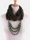 Bohemian Plush Imitation Pearl Necklace Autumn Winter Beaded Pendant Scarf Necklace - #13