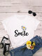 Letters Floral Printed O-neck Short Sleeve T-shirt - White