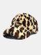 Women Plush Leopard Pattern Warm Fashion Personality Sunvisor Baseball Hat - Camel