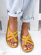Women Large Size Comfy Flat Clip Toe Outdoor Sandals - Yellow