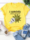 Casual Bacterial Letter Print Short Sleeve T-shirt - Yellow