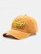 Hommes Coton Lavé Lettre Motif Patch Casquette De Baseball Pare-Soleil Extérieur Chapeaux Réglables - Jaune