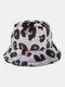 Women & Men Plush Soft Warm Casual All-match Cute Leopard Pattern Bucket Hat - Gray
