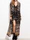 Floral Print Flowy Long Sleeve Plus Size Kimono - Black
