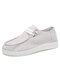 Women's Stylish Comfort Lace-up Wide Fit Low Top Slip-on Canvas Shoes Flats - White