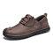 Menico Men Retro Cow Leather Slip Resistant Soft Sole Casual Shoes  - Coffee