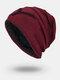 Men Winter Plus Velvet Letter Striped Pattern Outdoor Knitted Warm Beanie Hat - Wine Red