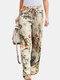 Floral Printed Elastic Waist Straight-Legged Pants For Women - Yellow