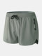 Men Swim Trunks with Compression Liner Breathable Moisture Wicking Liner Zipper Pocket Running Mini Shorts - Bamboo Green